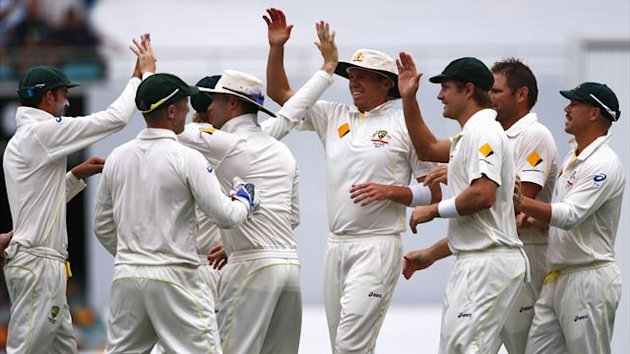 Australia's team celebrate after taking the wicket of England's Chris Tremlett during the second day's play of the first Ashes cricket test match in Brisbane November 22, 2013 (Reuters)