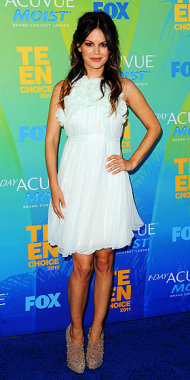 Rachel Bilson is sweet with an edge in a ruffled white dress and spiky booties