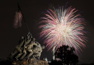 The United States Marine Corps War Memorial, better known as the Iwo Jima Memorial, is seen in Arlington, Va., Monday July 4, 2011, as fireworks burst over Washington, during the annual Fourth of July display. The Washington Monument and the Capitol can be seen in the distance. (AP Photo/Carolyn Kaster)
