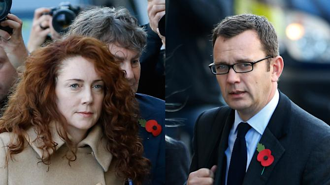 FILE - This combination of Monday, Oct. 28, 2013 file photos shows former News of the World editor Rebekah Brooks and husband Charlie Brooks, left image, and former News of the World editor Andy Coulson as they arrive at The Old Bailey law court in London. On Thursday, Oct. 31, 2013, a prosecutor in Britain's phone hacking trial revealed that Rebekah Brooks and Coulson — the two most senior U.K. tabloid editors accused of illegal eavesdropping and bribery — had a secret affair lasting at least six years. (AP Photo/Kirsty Wigglesworth, Lefteris Pitarakis)