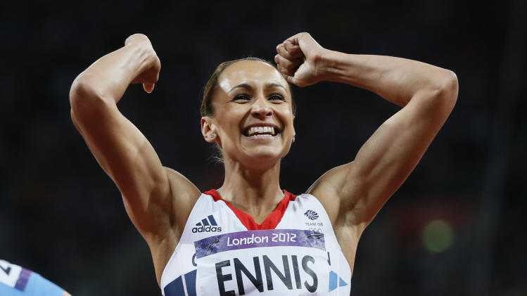 Britain's Jessica Ennis celebrates finishing second in the women's heptathlon 200m heat 5 at the London 2012 Olympic Games at the Olympic Stadium