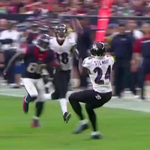 Houston Texans quarterback Case Keenum intercepted by Baltimore Ravens safety Darian Stewart