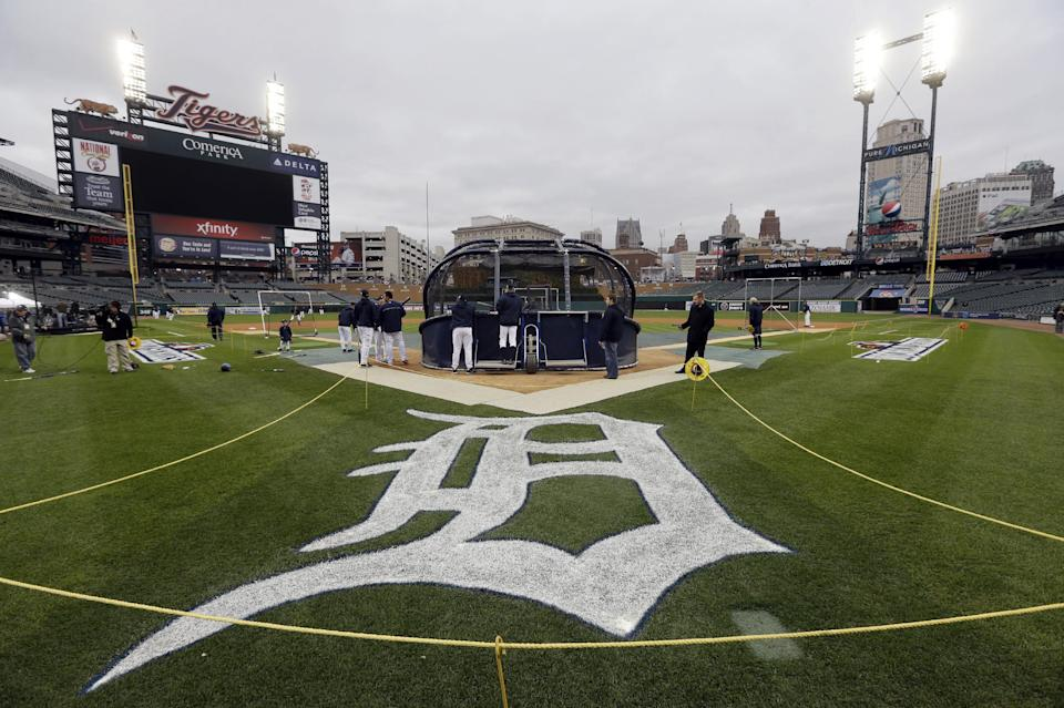 Detroit Tigers warms up during workout at Comerica Park in Detroit, Friday, Oct. 26, 2012. The Tigers host the San Francisco Giants in Game 3 of baseball's World Series on Saturday. The Giants lead the best-of-seven games series 2-0. (AP Photo/Patrick Semansky)