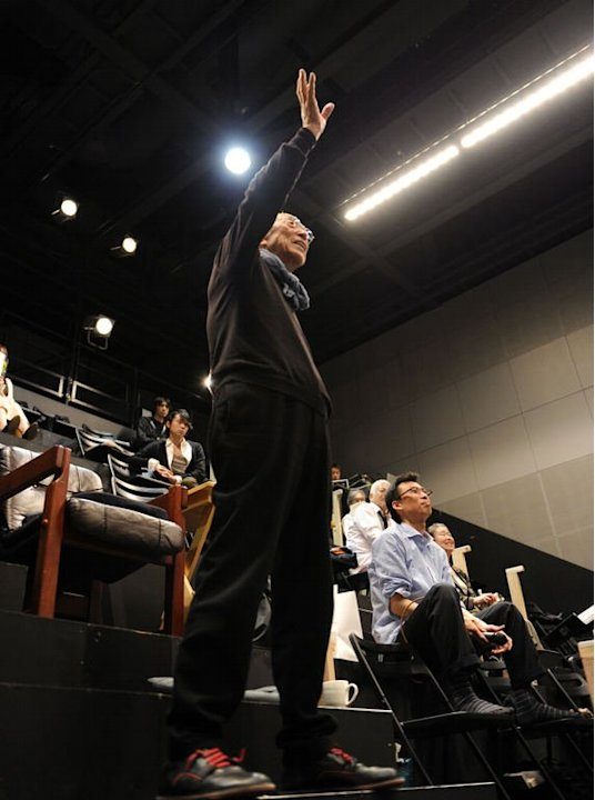Theatre director Yukio Ninagawa (C) gestures during a rehearsal in Saitama, on April 27, 2013