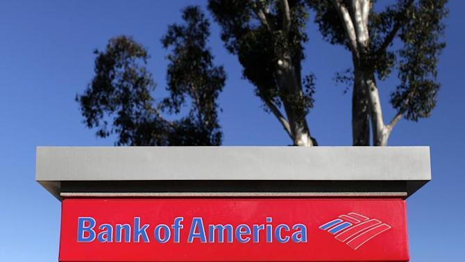 A Bank of America ATM sign is pictured in Encinitas, California