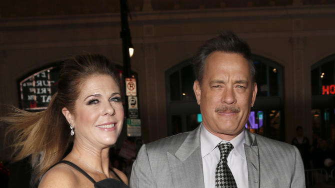 Rita Wilson and Tom Hanks arrive at the Los Angeles premiere of 'Cloud Atlas' at Grauman's Chinese Theatre on October 24, 2012 in Hollywood, California.  (Photo by Todd Williamson/Invision/AP Images)