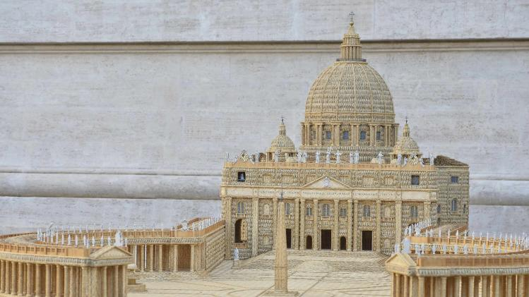 A detail of a scale model of Saint Peter's Square made of wicker is seen before the start of the general audience at the Vatican
