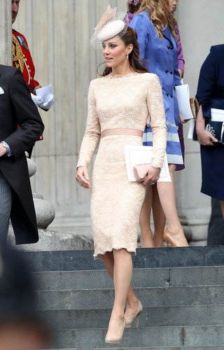 Kate Middleton donned her finest for a morning service at St Paul's Cathedral celebrating the Queen's Diamond Jubilee. The Duchess wore a peach long sleeved lace Sarah Burton for Alexander McQueen dre