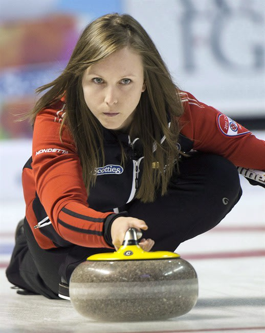 Ontario skip Rachel Homan takes a shot during gold medal curling action against Manitoba at the Scotties Tournament of Hearts Sunday, February 24, 2013 in Kingston, Ont. Homan wasn't intimidated by bi