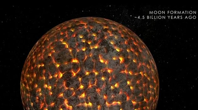 This illustration from a new NASA video shows the still-molten moon just after its formation about 4.5 billion years ago. CREDIT: NASA/Goddard Space Flight Center