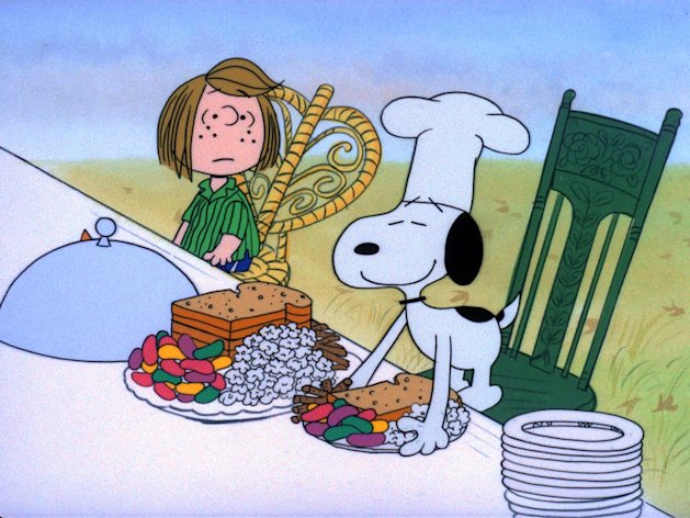 "In the 1973 special ""A Charlie Brown Thanksgiving,"" Charlie Brown wants to do something special for the gang. However the dinner he arranges is a disaster when caterers Snoopy and Woodstock prepare toast and popcorn as the main dish. Humiliated, it will take all of Marcie's persuasive powers to salvage the holiday for Charlie Brown."