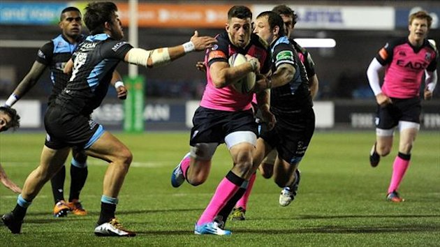 Cardiff Blues' Alex Cuthbert (centre) scored a spectacular try in the Heineken Cup win over Glasgow.