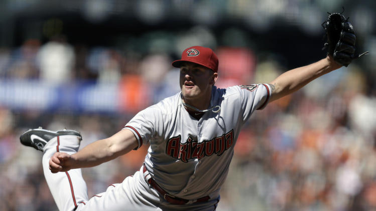Arizona Diamondbacks' Addison Reed works against the San Francisco Giants in the ninth inning of a baseball game Saturday, July 12, 2014, in San Francisco. (AP Photo/Ben Margot)