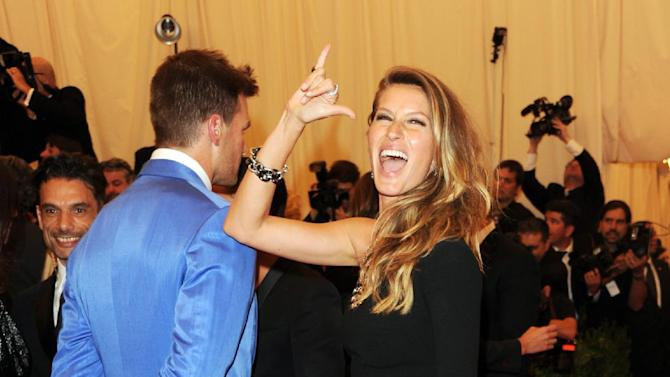 "Tom Brady and Gisele Bundchen attend The Metropolitan Museum of Art's Costume Institute benefit celebrating ""PUNK: Chaos to Couture"" on Monday, May 6, 2013 in New York. (Photo by Evan Agostini/Invision/AP)"