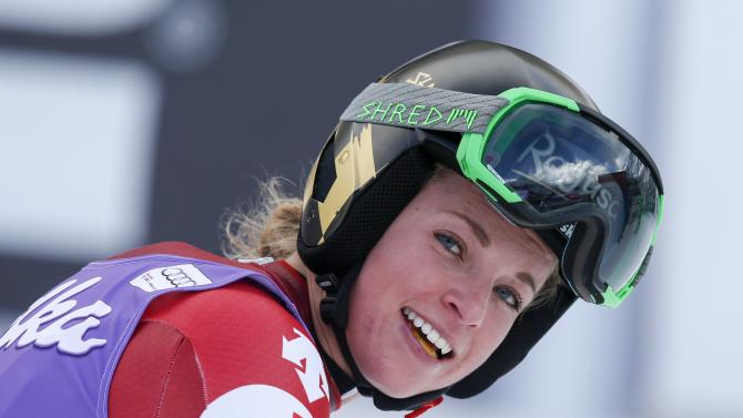 Gut of Switzerland reacts after placing fourth in the women's World Cup Downhill skiing race in Val d'Isere