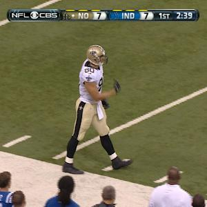 New Orleans Saints quarterback Drew Brees 38-yard completion to tight end Jimmy Graham