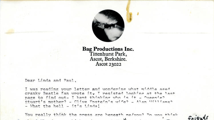 In this undated photo provided by Profile in History, the first page of a typed draft letter from John Lennon to Linda and Paul McCartney, that reflects the deep animosity between the two Beatles around the time of the foursome's breakup is shown. The letter is among a collection of historical documents to be sold at an online auction by Profiles in History on Wednesday, May 8, 2013. (AP Photo/Profiles in History)
