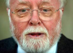File picture shows Sir Richard Attenborough at British television actor John Thaw's memorial service at St. Martin in the Fields church in London
