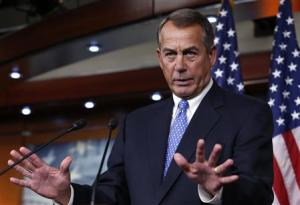 U.S. House Speaker Boehner gestures as he speaks at a news conference on Capitol Hill in Washington