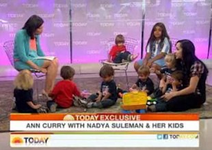 Octomom Nadya Suleman chats with Ann Curry while wrangling nine of her 14 kids. (Screengrab from the