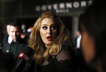 "British singer Adele, winner of Best Original Song for ""Skyfall"", is interviewed at the Governors Ball following the 85th Academy Awards in Hollywood"