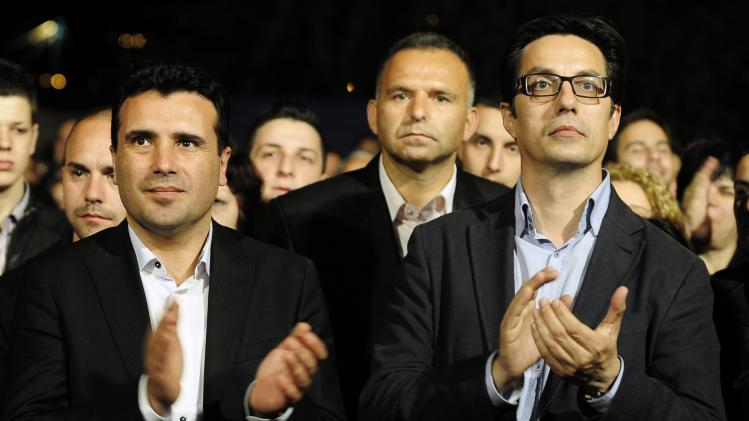 Leader of the Macedonian opposition party SDSM's leader Zaev and presidential candidate Pendarovski greets their supporters during an election campaign rally in Veles