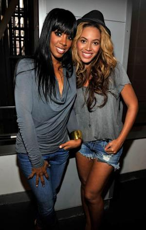 Kelly Rowland and Beyonce attend the listening event for 'Watch The Throne' at the American Museum of Natural History in NYC on August 1, 2011 -- Getty Premium
