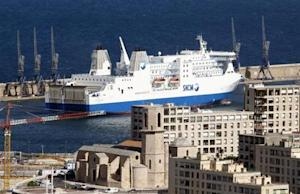 The car ferry Paglia Orba operated by the SNCM enters the Marseille's harbour
