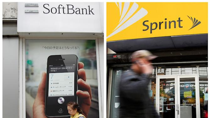 """FILE - In this combination of Associated Press file photo, a woman walks by a SoftBank shop in Tokyo Thursday, April 26, 2012, and a man walks past a Sprint store, Tuesday, April 27, 2010 in New York. Japanese cellphone company Softbank Corp. was in talks Thursday about taking a substantial ownership stake in struggling U.S. carrier Sprint Nextel Corp. Sprint, the third-largest cellphone company in the U.S., said the deal could be big enough to involve a """"change of control"""" of the company. It didn't provide any other details. (AP Photo)"""