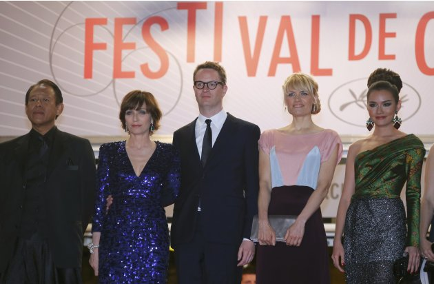 "Director Nicolas Winding Refn and cast members arrive for the screening of the film ""Only God Forgives"" in competition during the 66th Cannes Film Festival"