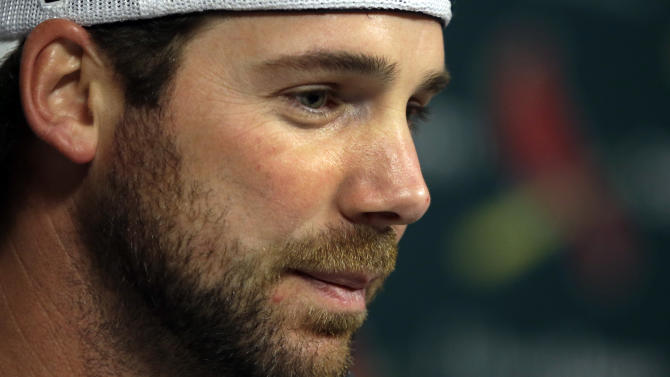 St. Louis Cardinals pitcher Chris Carpenter speaks about his future during a press conference Monday, Feb. 11, 2013, in St. Louis. Carpenter will be out for the foreseeable future due to a reoccurring injury. (AP Photo/Jeff Roberson)