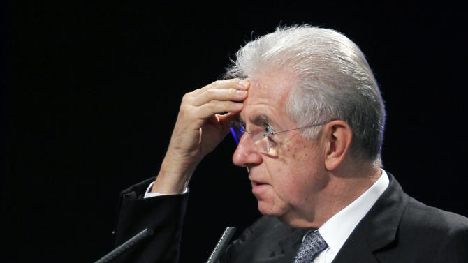 Italy's Prime Minister Mario Monti, speaks during a Spain-Italy Forum at American House in Madrid, Spain, Monday, Oct. 29, 2012. (AP Photo/Andres Kudacki)