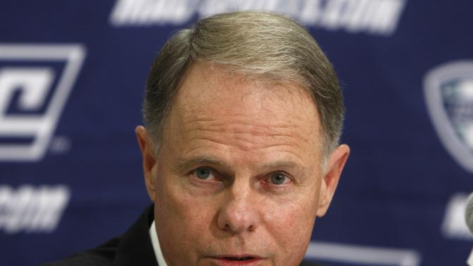FILE - Ohio University head football coach Frank Solich addresses the media during a news conference for the Mid-American Conference Championship college football game at Ford Field in Detroit, in this Dec. 3, 2009 file photo. The Ohio Bobcats open the season Saturday Sept. 1, 2012 at Penn State, in the first game of the post-Paterno era. (AP Photo/Carlos Osorio, File)