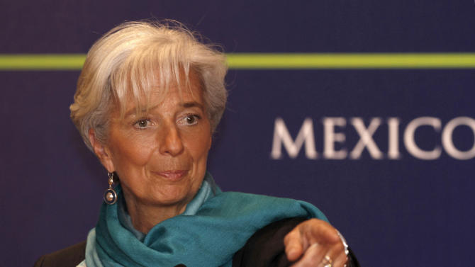 **  CORRECTS LAST NAME OF CHRISTINE LAGARDE  ** Managing Director of the International Monetary Fund Christine Lagarde delivers a speech during a conference at a so-called Group of 20 meeting in Mexico City, Sunday Feb. 26, 2012. (AP Photo/Marco Ugarte)