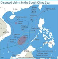 "Graphic on the disputed islands in the South China Sea. Philippine President Benigno Aquino has announced a $1.8-billion military upgrade to help defend his country's maritime territory against ""bullies"", amid an ever-worsening dispute with China"