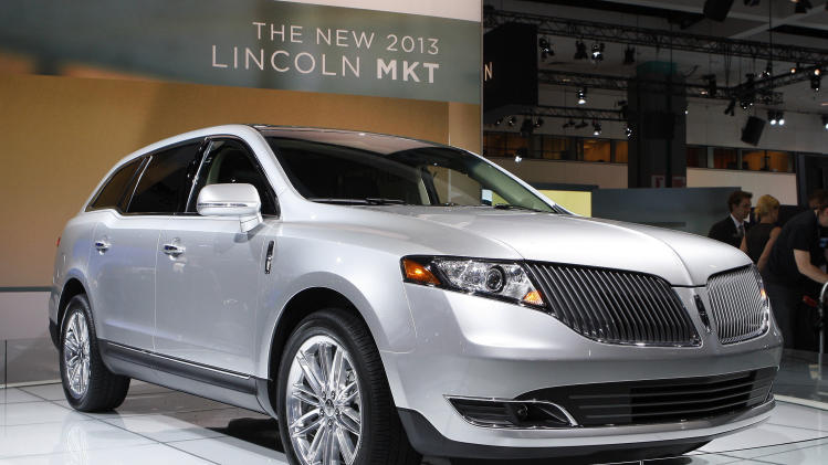 The 2013 Lincoln MKT is seen after its debut at the Los Angeles Auto Show Thursday, Nov. 17, 2011. (AP Photo/Reed Saxon)