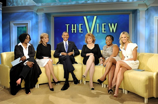 "President Barack Obama, the 44th President of the United States, is the featured guest on ""The View"" marking the first time in history a sitting United States President paid a visit to a daytime talk"