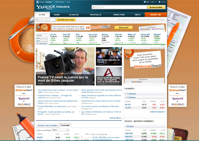 Habillage de page Yahoo! Finance