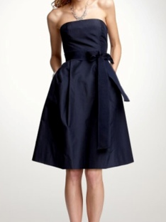 Silk taffeta strapless tea length bridesmaid dress