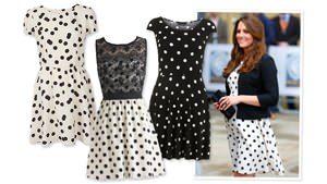 Kate recycles Topshop polka dot dress