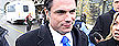 Sen. Patrick Brazeau talks to media on Parliament Hill in Ottawa, Tuesday, Feb.12, 2013. The RCMP says it is examining Senate expense claims following an independent audit and a critical report from the upper chamber's internal economy committee.THE CANADIAN PRESS/Adrian Wyld
