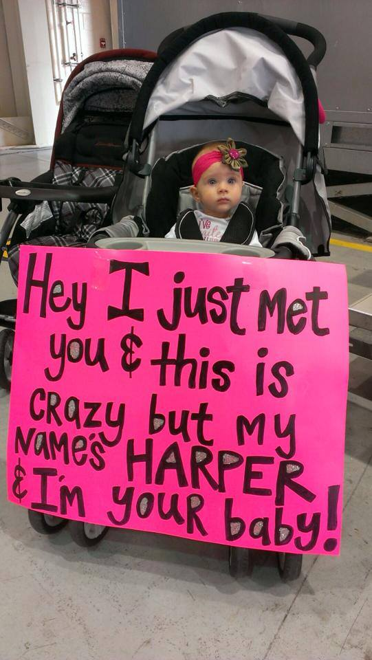 Harper Tesar meeting her father for the first time (photo courtesy Tesar family)