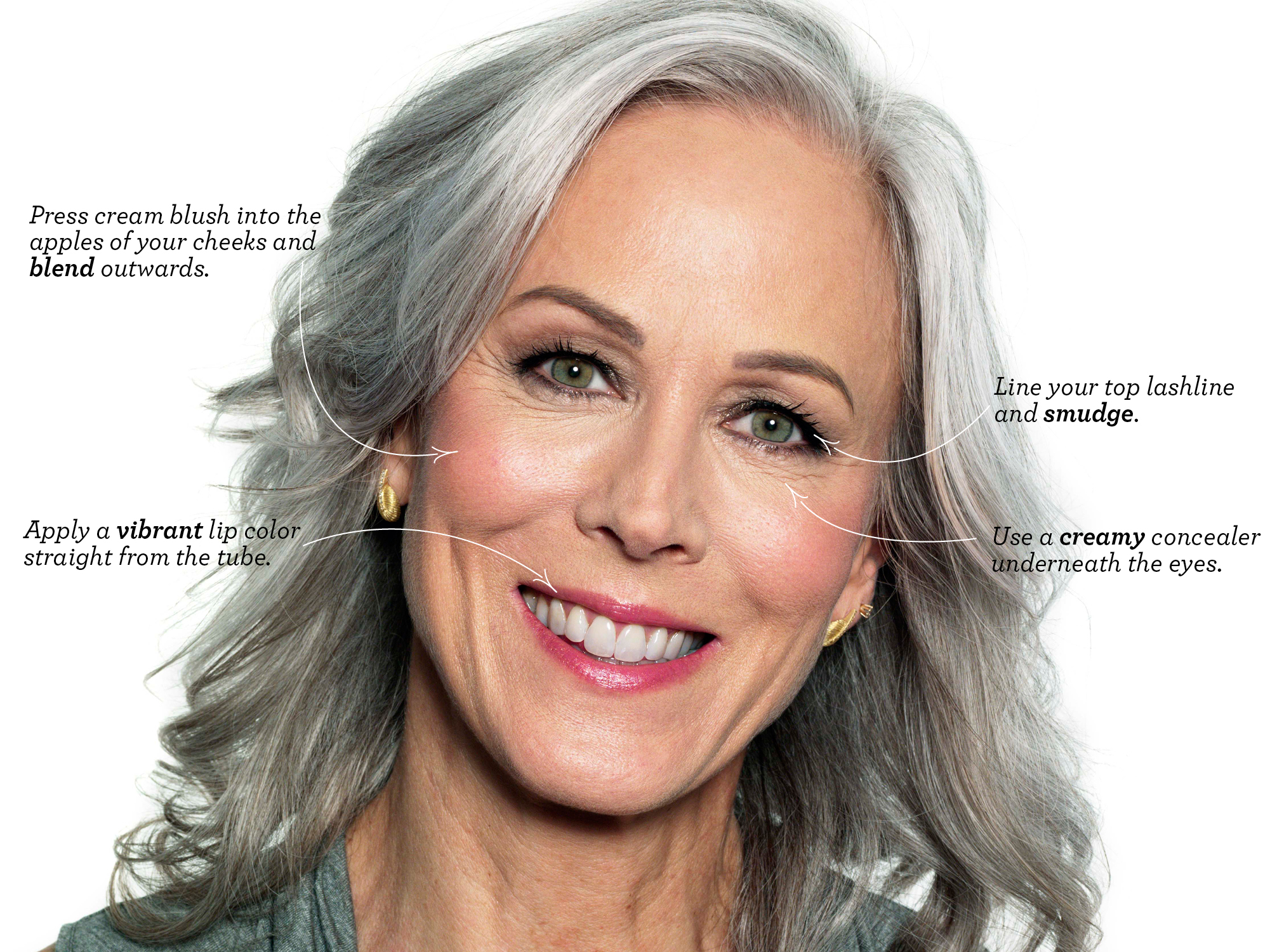 Evening Makeup For Gray Hair