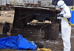 The body of a man found in the street, suspected of dying from the ebola virus is sprayed with disinfectant, in the capital city of Monrovia, Liberia, Tuesday, Aug. 12, 2014. (AP Photo/Abbas Dulleh)