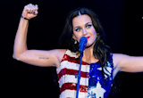 Katy Perry Performs in a Silver Striped Michael Kors Dress at the DNC
