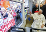 The Latest: Pope Francis takes a tram to Youth Day event