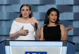 "Lena Dunham, America Ferrera Slam Donald Trump at DNC: ""We're With Hillary"""