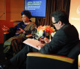 Sirleaf answers questions during a newsmakers interview onstage with Reuters journalist Threlfall in Washington