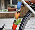 This undated publicity photo provided by Wearable Planter shows small bike-mounted planters created by Colleen Jordan, of Atlanta, using 3D modeling software. Her pieces are printed by a 3D printing ...