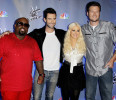 FILE - This Oct. 28, 2011 file photo shows, from left, Carson Daly, Cee Lo Green, Adam Levine, Blake Shelton, and Christina Aguilera, from the reality television competition &quot;The Voice&quot;, in Culver ...